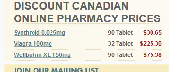 Prices of some of the drugs sold at the pharmacy