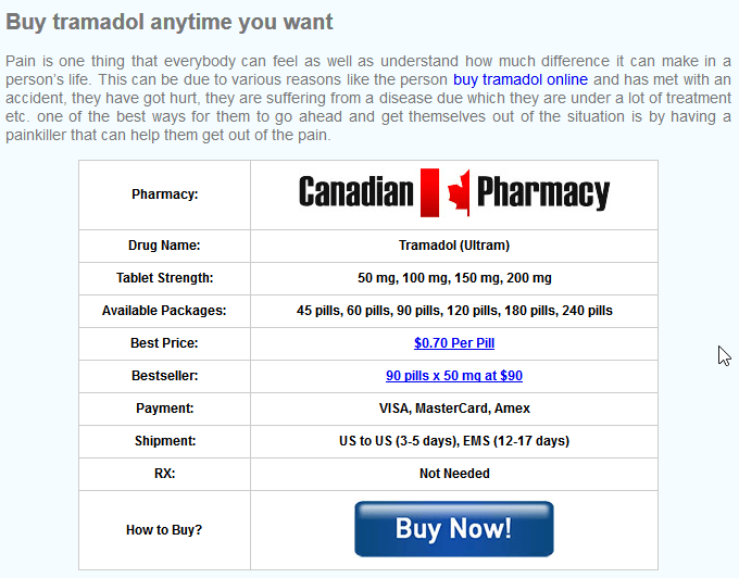 Store Offering No Rx Tramadol Online