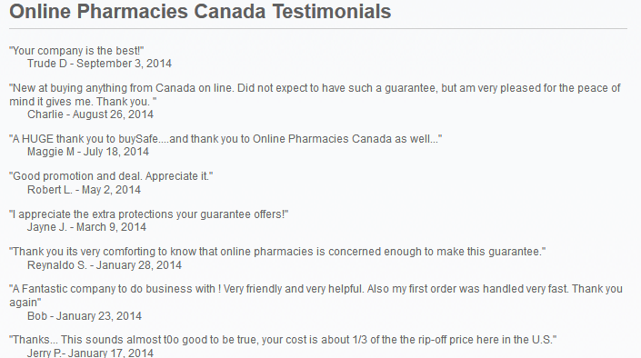 Online Pharmacies Canada reviews
