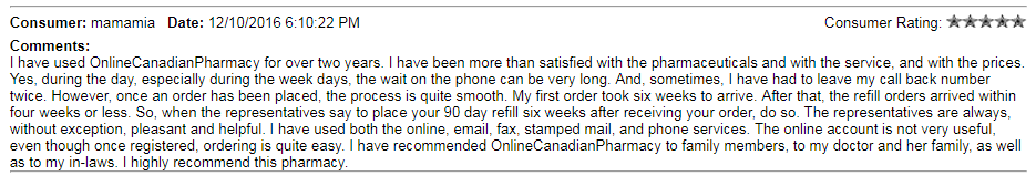 Online Canadian Pharmacy User Review