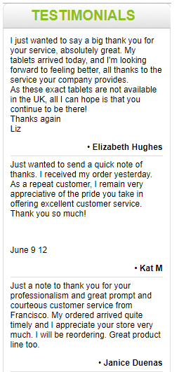 Mexico Drug Store Customer Testimonials