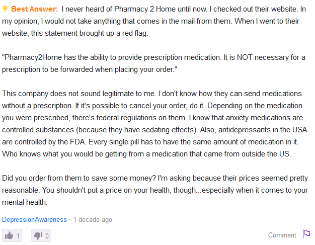Online Discussion About Pharmacy 2 Home